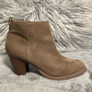 Charlotte Russe faux suede tan booties size 8